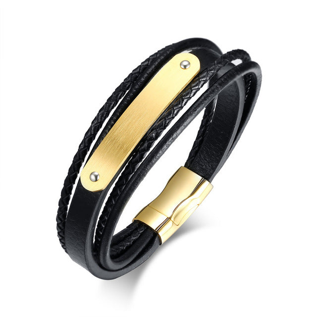 Genuine Leather Black Braided Bracelet for Men