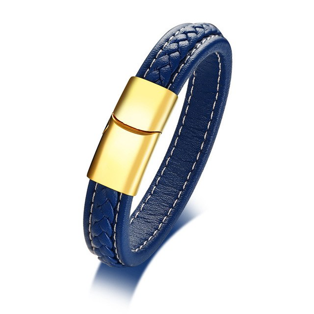 Genuine Leather Blue Braided Bracelet for Men