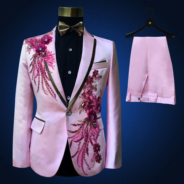 Wonderful High Quality Embroidered Three Pieces Men's Set Suit