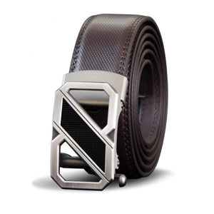 High Quality Genuine Cow Leather Silver Business Belt for Men