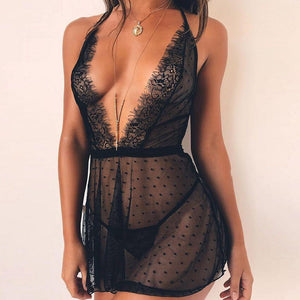 Beautiful lace see through lingerie nightdress