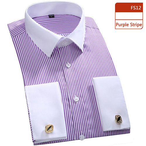 Amazing French Cufflinks Business Wedding Party Stripped Shirts Chemises