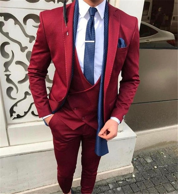 Luxurious Handsome Men's Slim Fit Red Wedding 3-pieces Suit