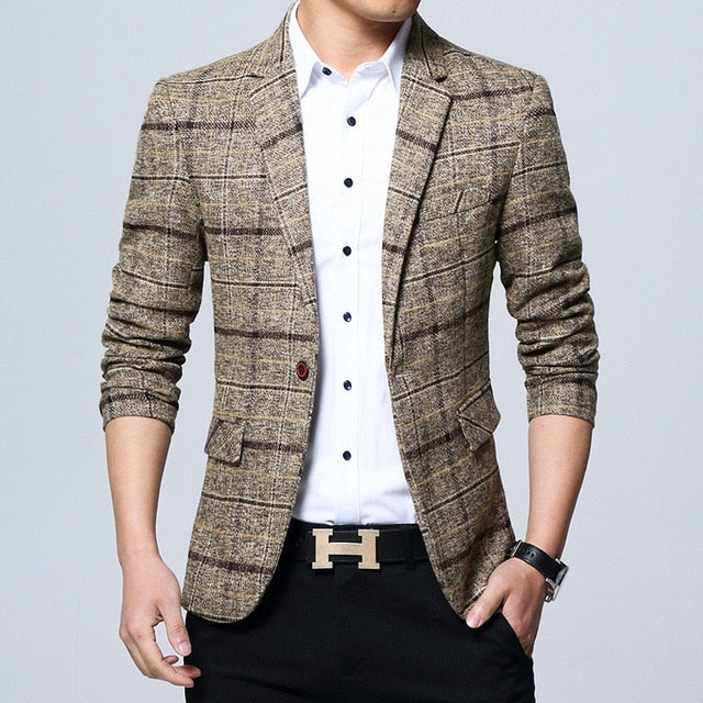 Fashion Brand England Style Men's Blazer Slim Fit One Button
