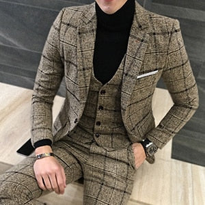 Men's 3-Pieces Plaid Stripes Set