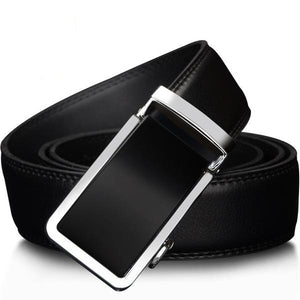 High Quality Genuine Cow Leather Black and Silver Business Belt for Men