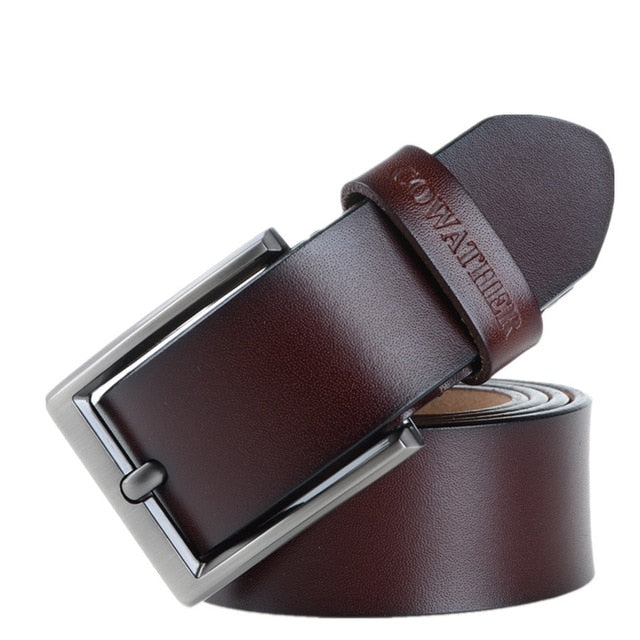 Top Genuine Cow Leather Casual Belt with Pin Buckle for Men