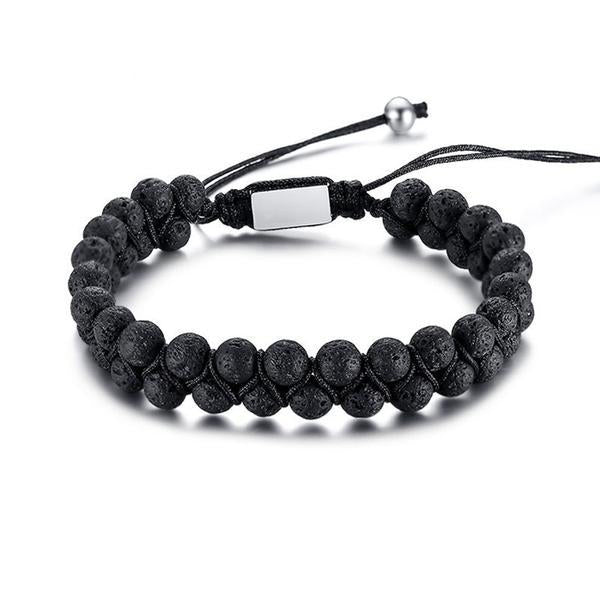 Handmade Natural Lava Stones Bracelet for Men