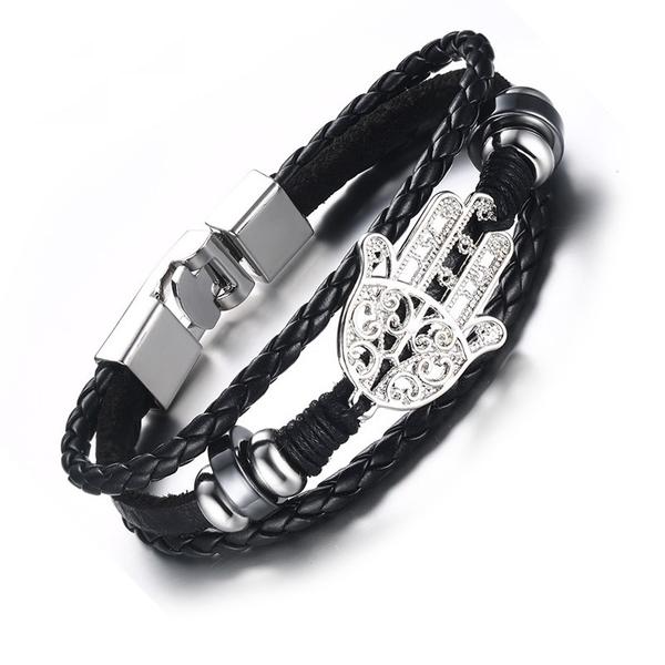Genuine Oriental Leather Black Bracelet for Men