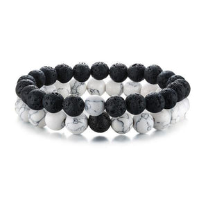 Natural Stones White and Black Bracelet