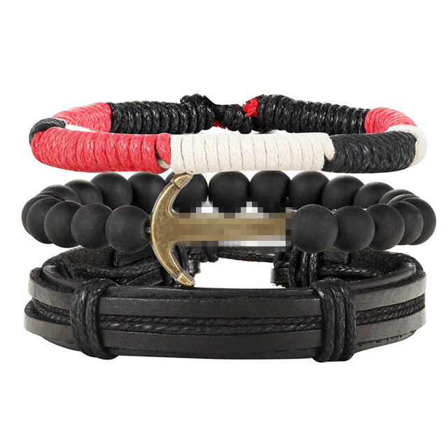 Fashion 4pcs/set Handmade Vintage Anchor Leather Bracelets for Men