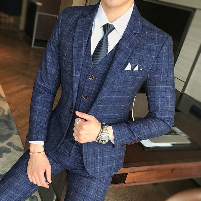 Men's Wedding Dress Formal Wear Blue Plaid Slim Suit