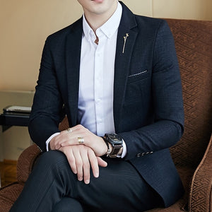 Luxurious Spring Men's Striped Fashion Slim Fit Blazer