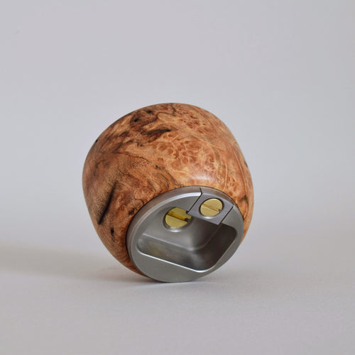Handcrafted Knob Bottle Opener in Burl Walnut. Ninos Studio.
