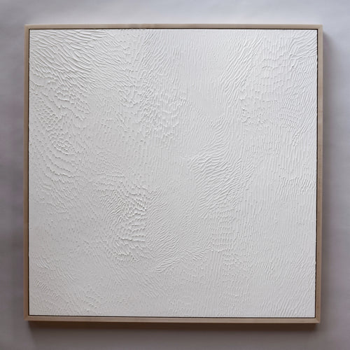 White Textured Abstract Painting in maple frame by Ashleigh Ninos of Ninos Studio. 24x24 inch fine art painting. $1,000.00.