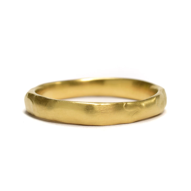 Organic Unisex Ring Band available in 18k Yellow Gold, 14k Palladium White, or 18k Rose Gold by Ninos Studio.