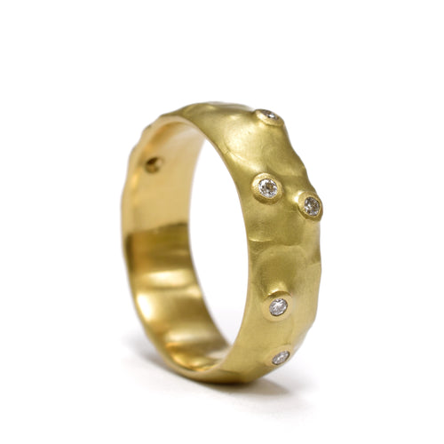 Wide organic band with diamonds by Johnny Ninos. Available at Ninos Studio.