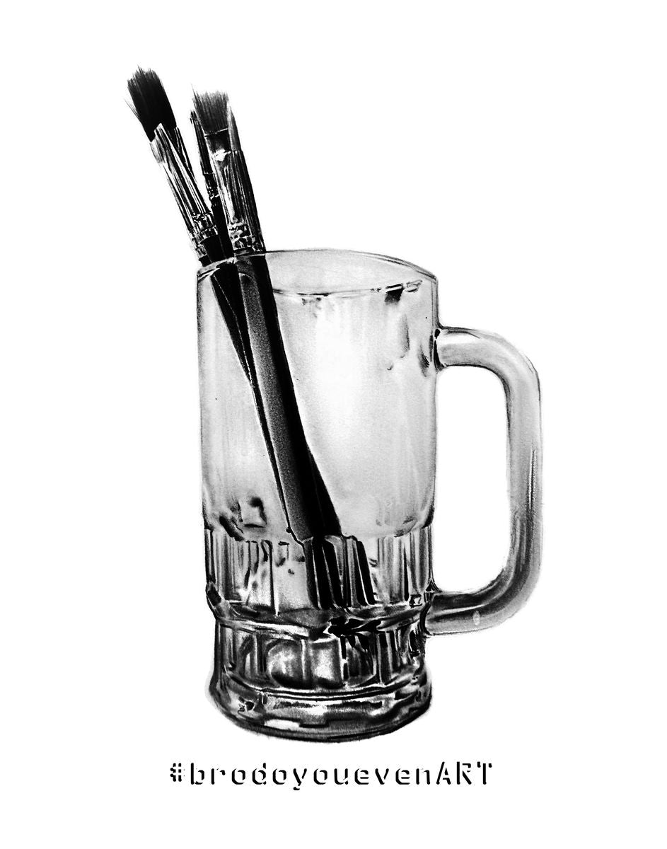 Pint Of Brushes (Pencil Drawing)