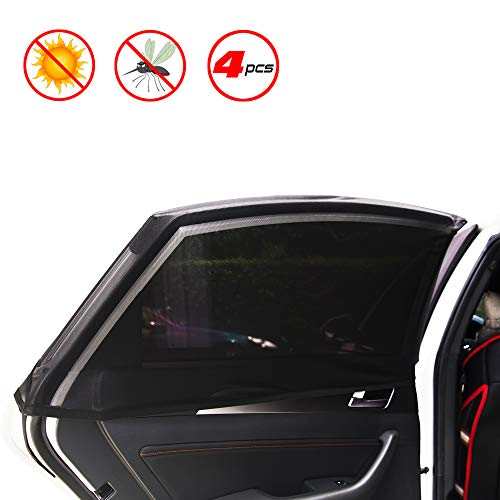 X-spirit Car Window Shades for Baby & Pets, New Elastic Material, 4 Pcs for Rear and Front Windows. Block The Sunlight, Anti-Mosquito. Universal Fit for Most Vehicles.