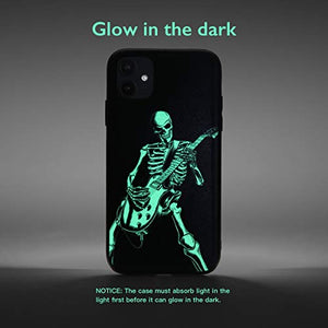 X-spirit iPhone 11 Leather Case Cool Skull Style for Musician Guitarist Skeleton Playing Guitar Glow in The Dark (iPh 11-Skeleton Playing Guitar)