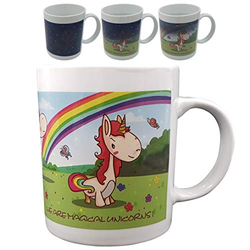 Color Changing, Heat Sensitive Unicorn Mug for Coffee Tea or Milk, Little Pony Changes into Unicorn, Funny Unicorn Gifts for Boys, Girls, Kids, Ladies, or Any Unicorn Lover.