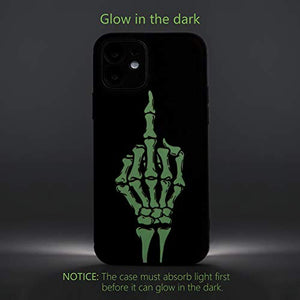 X-spirit Cool Leather Case for iPhone 12, Skull Skeleton Design, Middle Finger Glow in The Dark (iPh 12-Middle Finger)