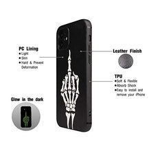 Load image into Gallery viewer, X-spirit Cool Leather Case for iPhone 12, Skull Skeleton Design, Middle Finger Glow in The Dark (iPh 12-Middle Finger)