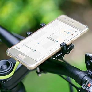 Metal Bike Phone Mount, 100% Aluminum Alloy, for Mountain Road Sports Bike and Motorcycle, Universal Cell Phone Holder, Fits iPhone 11/Xs/Xs Max/XR/X/8/7 (Plus), Samsung Note10/Note9/S10/S9/S8 (Plus)