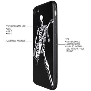 Case for Apple iPhone 7 / 8 / New Se (2020), Skeleton Playing Guitar, Cool Skull Design for Musician Guitarist (iPh 7/8/Se-Skeleton Playing Guitar)