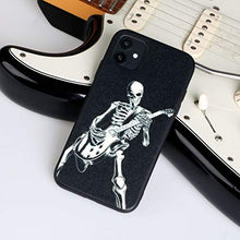 Load image into Gallery viewer, X-spirit iPhone 11 Leather Case Cool Skull Style for Musician Guitarist Skeleton Playing Guitar Glow in The Dark (iPh 11-Skeleton Playing Guitar)