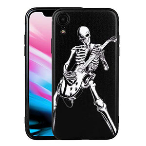 Case for Apple iPhone XR, Skeleton Playing Guitar, Cool Skull Style for Musician Guitarist, Phone Case Cover for Apple iPhone XR (iPh XR-Skeleton Playing Guitar)