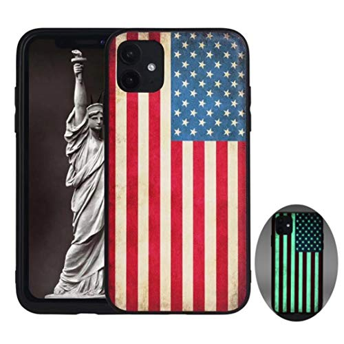 X-spirit iPhone 11 Leather Case American Flag Glow in The Dark (iPh 11-American Flag)