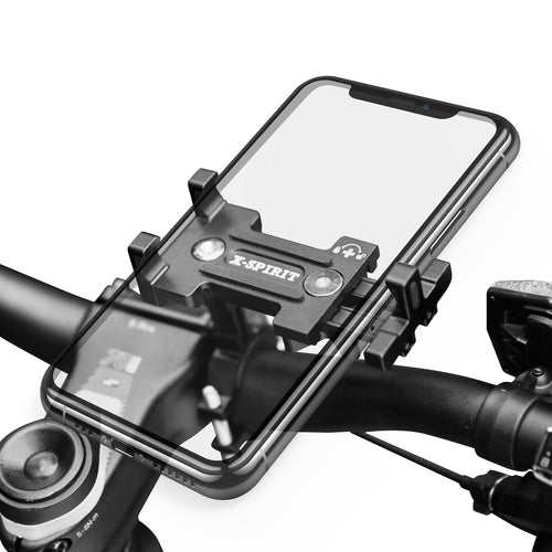 Metal Bike Phone Mount, 100% Aluminum Alloy, for Mountain Road Sports Bike and Motorcycle, Universal Cell Phone Holder, Fits iPhone 12/11/Xs/Xs Max/XR/X/8/7 (Plus), Samsung Note10/Note9/S10/S9/S8 (Plus)