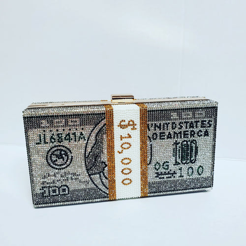Nala rhinestone money clutch