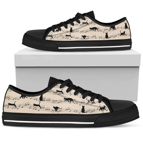 Cat Music Sheet Low Top Shoes - Wonder Cute Official