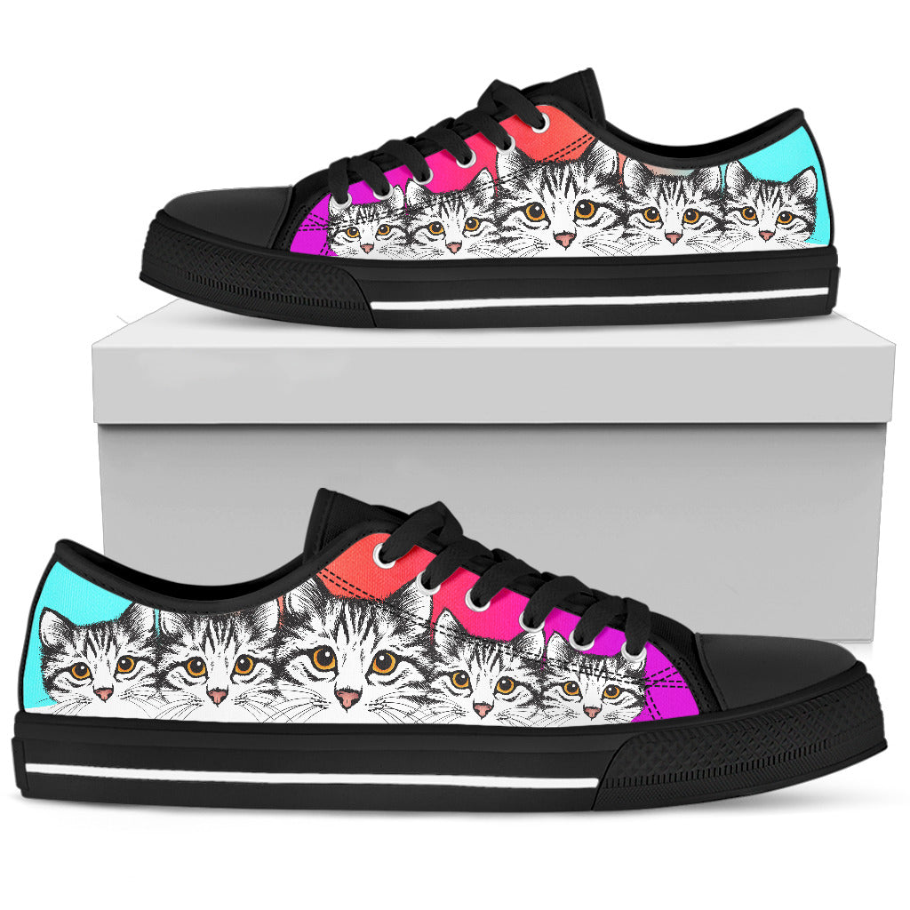 Cute Tabby Cat Gradient Background Low Top Shoes