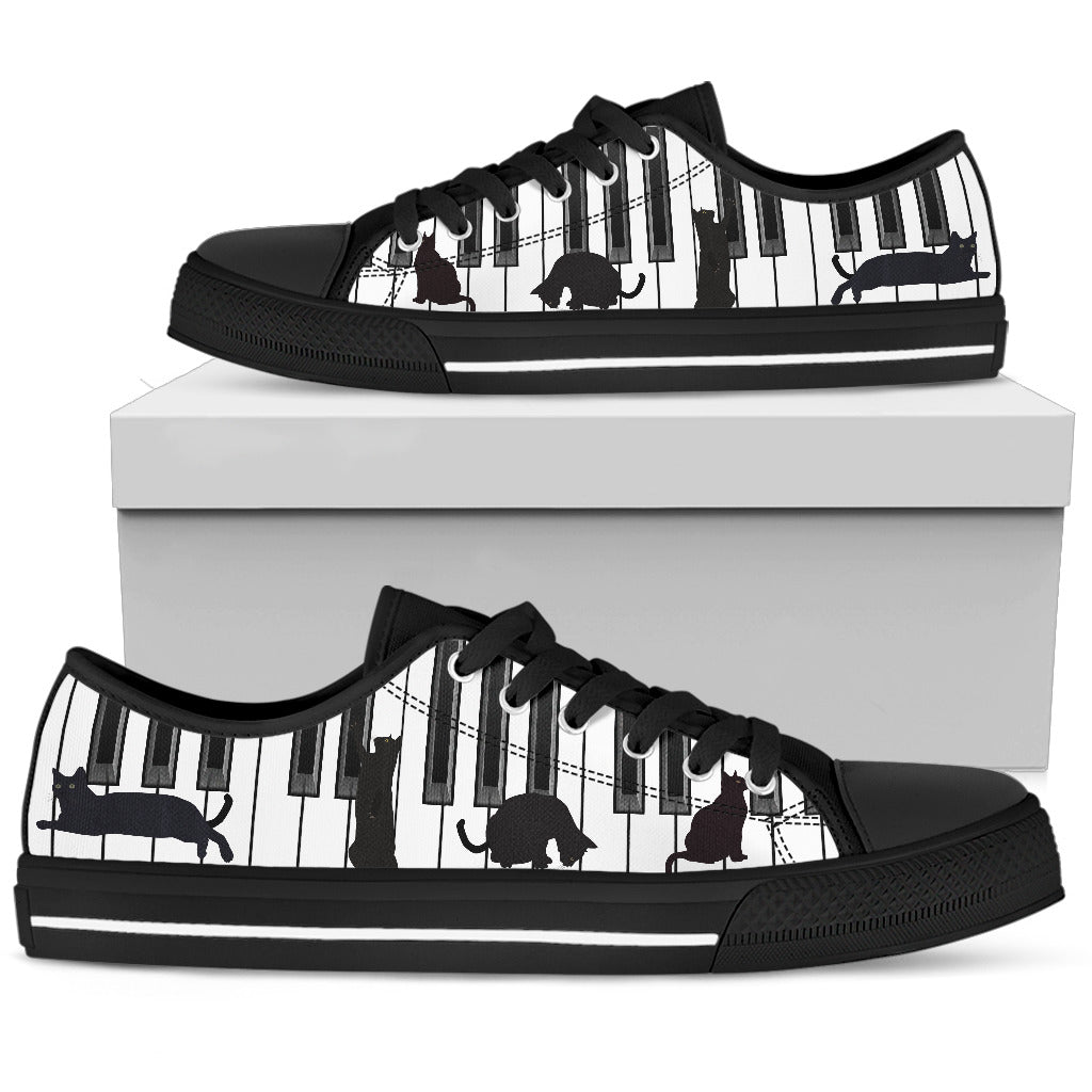 Cat Piano Women Low Top Women Black hiep