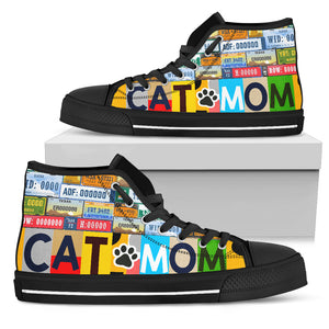 Cat Mom Paw High Top Shoe Women Black hiep - Wonder Cute Official