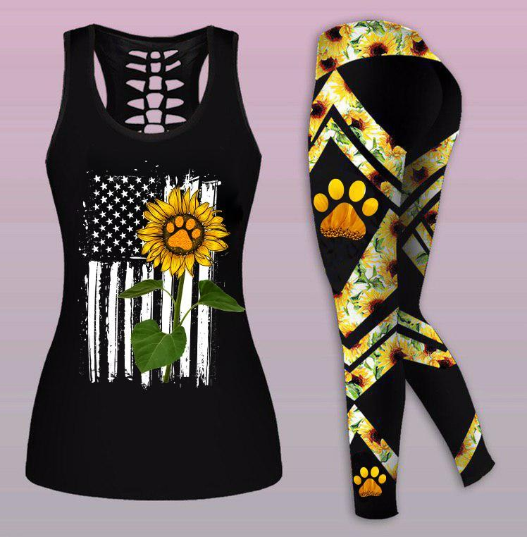 Combo Sunflower Paw Pet Cat Dog Mom Tank Top And Legging Sunflower Outfits - Wonder Hippie Official