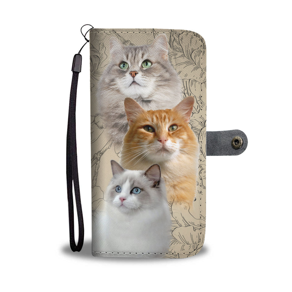 Three Cute Cats Wallet Case