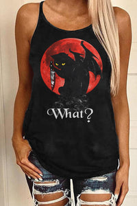 Summer Sleeveless Sexy Backless Hollow Out What Cat Gothic Tank Top For Women