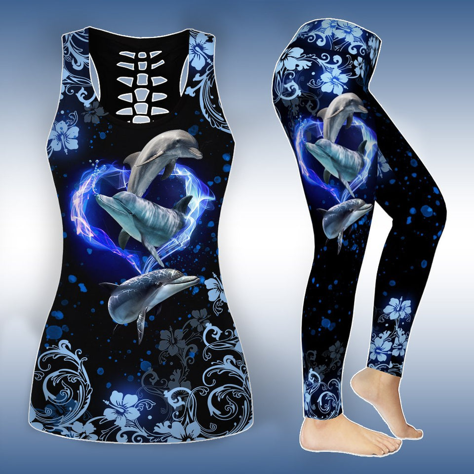 Combo Dolphin Tank Top And Leggings Outfits - Wonder Cute Official