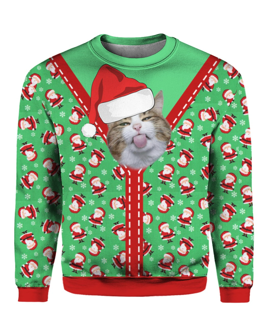 Cute Cat Santa Knitted  3D Full Print Sweatshirt
