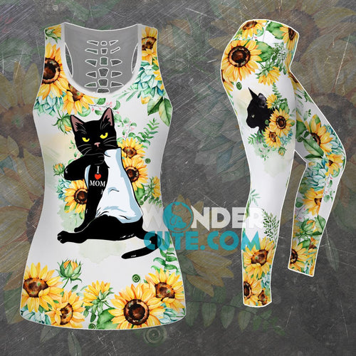 Combo Sunflower Cat I Love Mom Tank Top And Leggings Outfits - Wonder Cute Official
