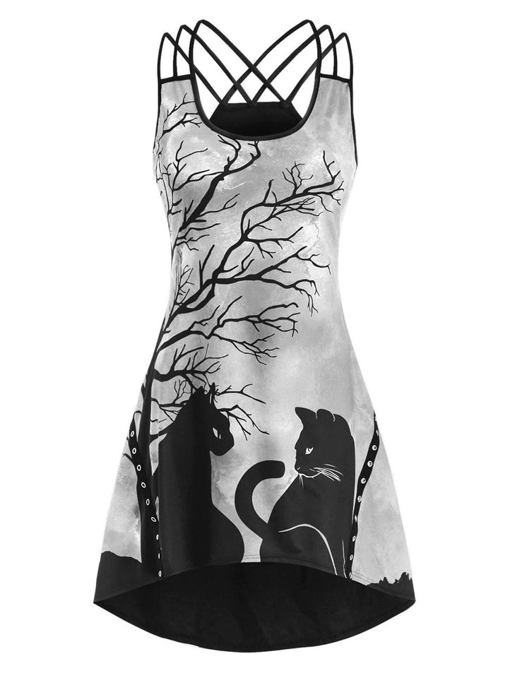 Tree & Cats Print Criss-cross Halloween Horror Dress For Women