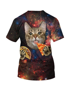 Cute Cat Eating Pizza 3D full print t-shirt - Wonder Cute Official