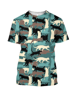 Camouflage Cats Patterns  3D full printed t-shirt
