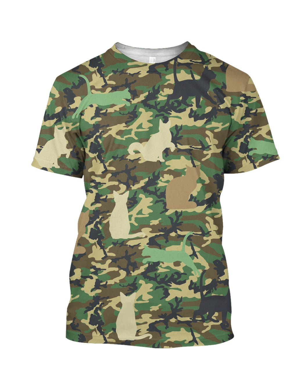 Camouflage Cat  3D full print t-shirt