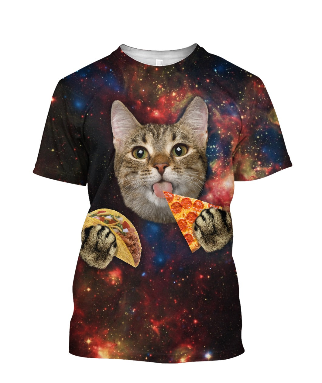 Cute Cat Eating Pizza 3D full print t-shirt