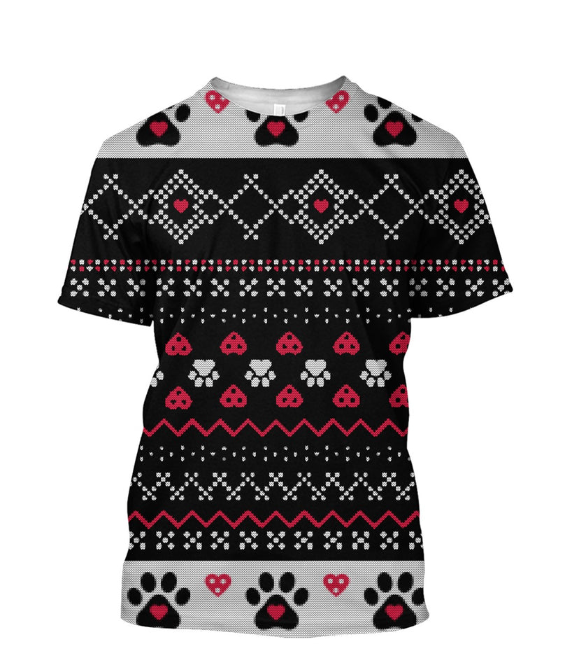 Knitted Paw Design 3D full printed t-shirt